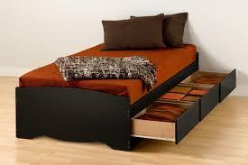Black Twin Bed Storage Platform Bed Black
