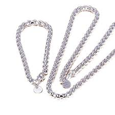 silver necklace sets images Preciastore 925 sterling silver bracelet and necklace jpg