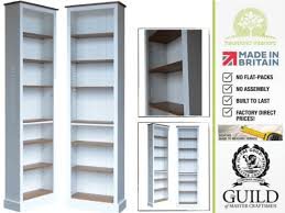 white cream or grey painted 7ft x 2ft shallow bookcase
