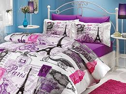 Duvet 100 Cotton 100 Cotton 4pcs Paris Purple Full Double Size Duvet Quilt Cover Set E