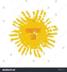 handprint sun kids palm prints form stock vector 339811988