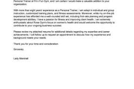 fitness personal trainer cover letter