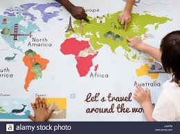 kids learning world map with continents countries ocean geography