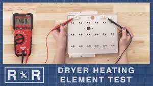 speed queen 61928 continuity test dryer heating element