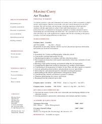 Art Teacher Resume Template 35 Printable Teacher Resume Templates Free U0026 Premium Templates