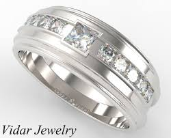 mens white gold wedding rings white gold diamond wedding band princess cut vidar jewelry