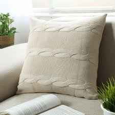 Knitted Cushions With Buttons Wool Cushion Cover Modern Minimalist Solid Colour Pillow Covers