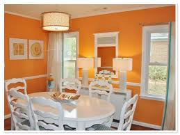 orange paint colors and wallpaper for modern dining room