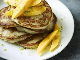 coconut pancakes with mango and lime syrup recipe gordon ramsay