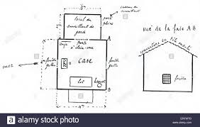 prison floor plan captain alfred dreyfus drawing of plan of prison hut before the