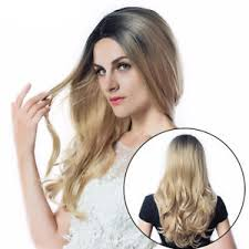 black at root of hair 22 long wavy women hair full wig fashion style black root blonde