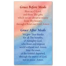grace before and after meals prayer card