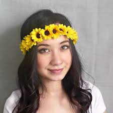 sunflower headband blue flower headband flower crown hippie from sawu awesome