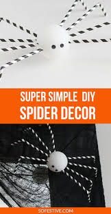 diy paper straw halloween spiders so festive
