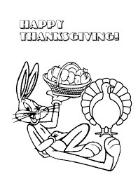 bugs bunny sitting with thanksgiving turkey coloring page h m
