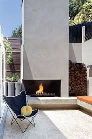 Modern Outdoor Gas Fireplace by Dwell Home Venice The Gas Burner In The Outdoor Fireplace From