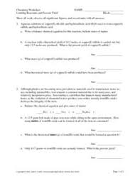 limiting reactants and percent yield 10th 12th grade worksheet