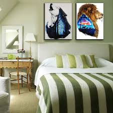 wolf home decor wall art howling wolf printed painting home decor abstract lion