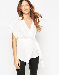 white wrap blouse asos asos obi band wrap blouse