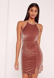 90s dress 90 s neck split hem velvet bodycon dress pink missguided