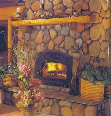 interior vintage style decorating using big stone fireplace design