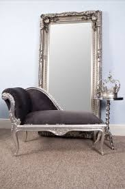Small Chaise Vintagevibe French Style Grey Suede Silver Leaf Style Small Chaise