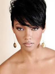 pic of black women side swept bangs and bun hairstyle short pixie cuts for straight black hair with side swept bangs for
