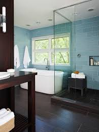 classy glass tile accent wall bathroom in luxury home interior