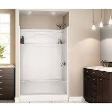 shop delta white acrylic one piece shower with integrated seat