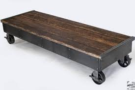 Rolling Coffee Table I Beam Coffee Table Glass Top Real Industrial Edge Furniture