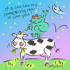 cow jumps over the moon painting by sally huss