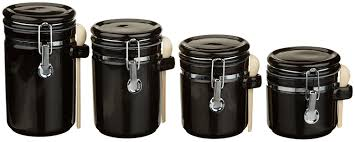 Kitchen Canisters Black Amazon Com Anchor Hocking 4 Piece Ceramic Canister Set With Clamp