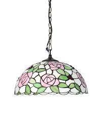 Tiffany Chandelier Tiffany Style Stained Glass Pendant Light With Pink Rose Patterns
