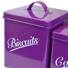 Purple Canister Set Kitchen by 5 Piece Canister Set Purple Bread Bin Sugar Coffee Tea Biscuits By