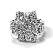 cluster rings vintage 14k white gold and diamond cluster ring estate