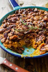 simple sweet potato casserole with a crunchy pecan crumble