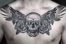 dotwork roses and skull tattoo on chest