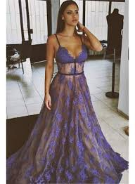 formal gowns 2017 sheer purple evening dress lace v neck prom gowns with