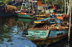 digital painting of fishing boat on canal in thailand oil color