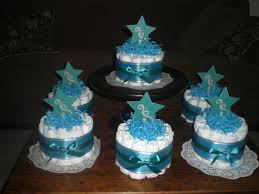 Tiffany Blue Baby Shower Cake - teal grey and tiffany blue star whimsical bundt diaper cake baby