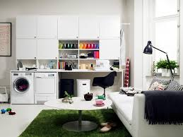 laundry room design combined with modern family room decorating