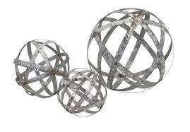 imax home 65346 3 demi galvanized spheres set of 3 home decor