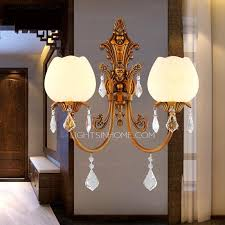 Sconce Lights Antique 2 Light Refined Copper Crystal Wall Sconce Lights