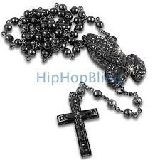 praying necklace praying bling bling black rosary necklace hip hop rosary