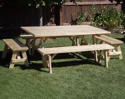 treated pine wide picnic table w traditional benches