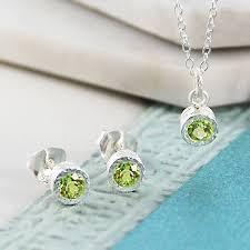 gemstone necklace sets images Silver jewellery green peridot birthstone set by embers gemstone jpg