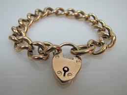 rose gold heart charm bracelet images Antique english rose gold padlock heart charm bracelet 9 carat jpg