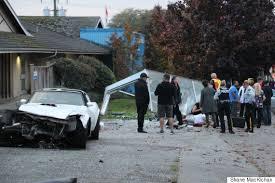 corvette crash corvette crashes into surrey stop seriously injuring pedestrian