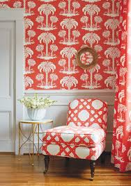 charlotte chair in cyrus cane printed fabric in coral from thibaut