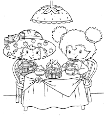 strawberry shortcake coloring page sharing sweet treats cartoon